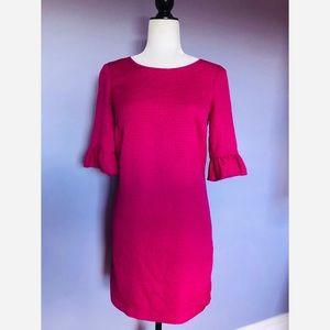 Club Monaco pink ruffle open back dress